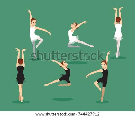 manga girl ballet three poses
