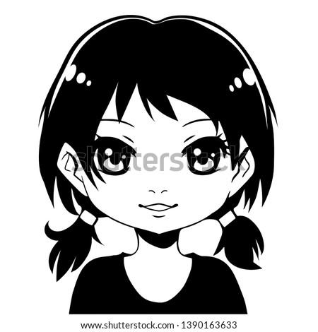 manga girl with black hair ink