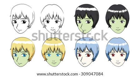 manga short hair girl stroke