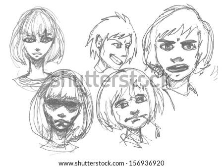 manga sketch set of boys and