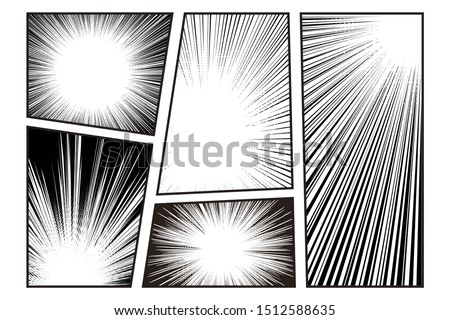 Manga speed line set with stripe and radial effect