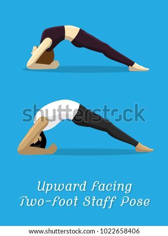manga style cartoon yoga upward