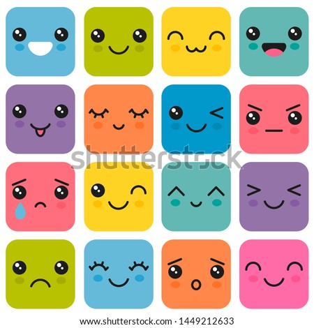 Manga style eyes and mouths. Kawaii cute colorful faces
