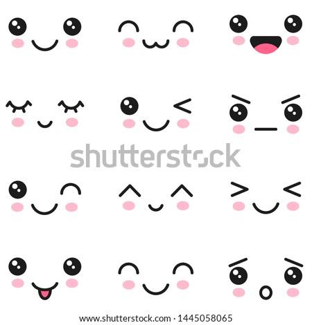 Manga style eyes and mouths. Kawaii cute faces
