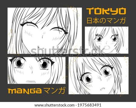 Manga style. Japanese cartoon Comic concept. Anime characters. Japanese slogan with manga face Translation Japan manga.