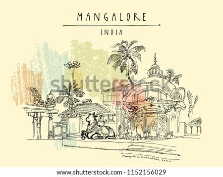 Mangalore, Karnataka, India. Holy cow statue in Kudroli Hindu temple (Gokarnanath). Travel sketch. Vintage hand drawn postcard template. Vector