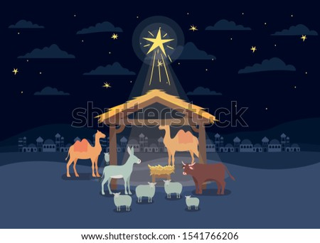manger animals with cradle in wooden stable vector illustration design Stock photo ©