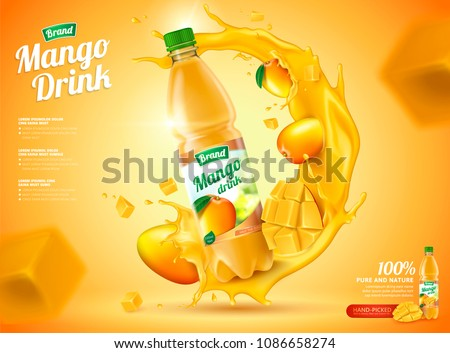 Mango bottled juice with fresh fruits and splashing liquid in 3d illustration