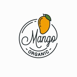 Mango fruit logo. Round linear logo of mango on white background