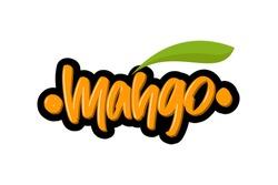 Mango hand drawn modern brush lettering text. Vector illustration logo for print and advertising