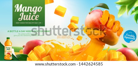 Mango juice banner ads with liquid hand grabbing fruit effect on blue sky background in 3d illustration
