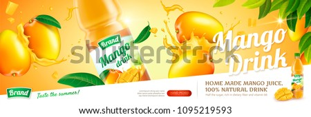 Mango juice in plastic bottle with fresh fruits hit together in 3d illustration