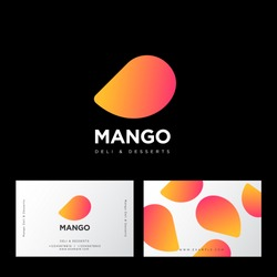 Mango logo. Deli and desserts sweet cafe. Mango and letters. Sweets emblem. Identity. Business card.
