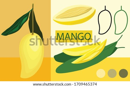 mango packaging set with logo and example colours