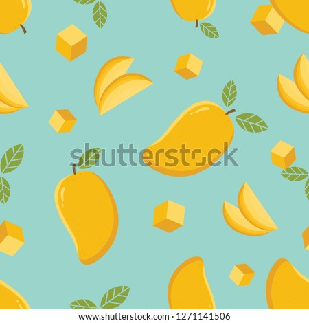Mango seamless pattern. Mango seamless pattern background.Mango fruit graphic color seamless pattern
