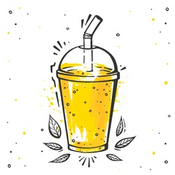 Mango smoothie illustration in hand drawn style. Vector juice in cup isolated