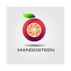 Mango steen and Healthy Fruit design with modern style, vector illustration