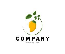 Mango with leaves logo concept. Vector Design Illustration. Symbol and Icon Vector Template.