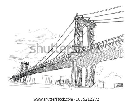 manhattan bridge  hand drawn