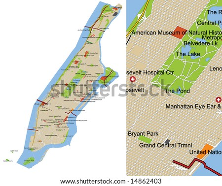 Manhattan city map. Highly detailed editable vector map (see detail cutout on the right). All features and labels on separate layers for easy customization. Data source: US Census Bureau. - stock vector