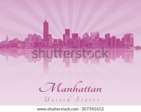 manhattan skyline in purple