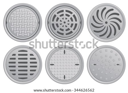 Manhole Covers. Vector Illustration of various Manhole Covers. Each Pattern in separate layer. Easily editable.