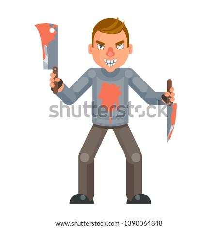 Maniac killer psychopath blood knife axe hand insane evil psycho cartoon character design flat isolated vector illustration