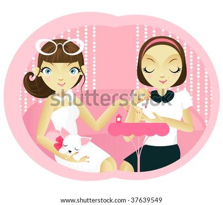 Manicure. Sexy girl in beauty salon. EPS. Full editable.