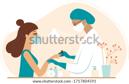 ManicureSession in beauty salon. Beautician and client Wearing protective medical mask during carantine. Safety and protection during coronavirus COVID-19 quarantine. Flat vector illustration Foto d'archivio ©