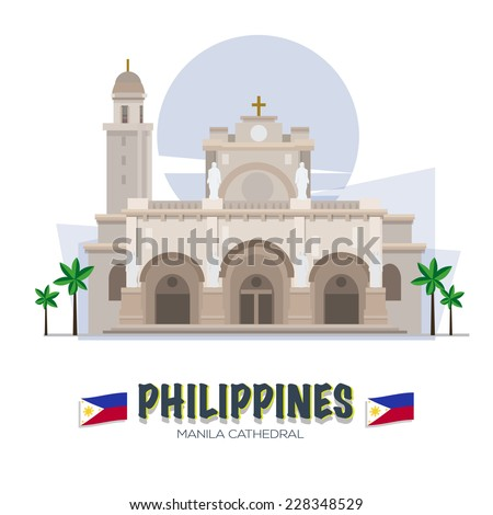 Manila Cathedral. Philipines landmark. asean set - vector illustration