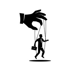 Manipulation concept black icon. Worker on ropes. Silhouette abuse of power. Vector illustration flat cartoon. Hand of puppeteer holding a little businessman on a leash. Control workers.