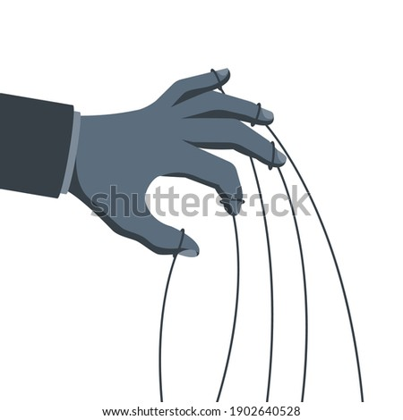 Manipulation concept. Manipulator's hand with ropes in gray. Abuse of power. Vector illustration flat cartoon. Hand of puppeteer. Control workers.  Foto stock ©