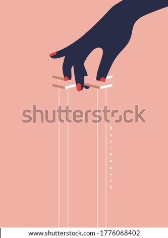 Manipulation hand. Hands of an Invisible puppeteer. Mind controlled, Master dictator, Bossy, Marionette, Puppet, Theater. Flat design Modern vector illustration. Stockfoto ©