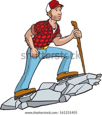 Manly Hiker. A cartoon hiker enjoying the great outdoors. Vector file.