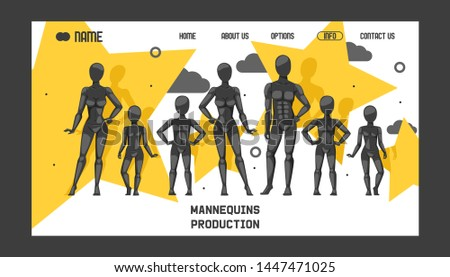 Mannequins production banner web design vector illustration. Fashion clothing store, shop window. Different poses and colurs fashion female male and children full body mannequins collection.