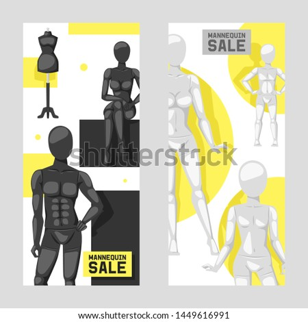 Mannequins sale set of banners vector illustration. Fashion clothing store, shop window. Different poses and colurs fashion female male full body and partial mannequins collection.