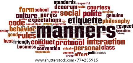 Manners word cloud concept. Vector illustration