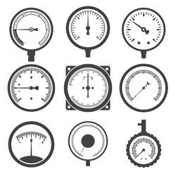 Manometer (pressure gauge) and vacuum gauge icons. Vector illustration