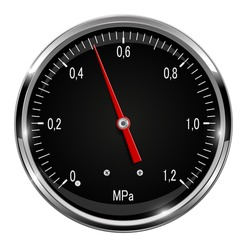 Manometer. Round black gauge with metal frame. Vector 3d illustration isolated on white background