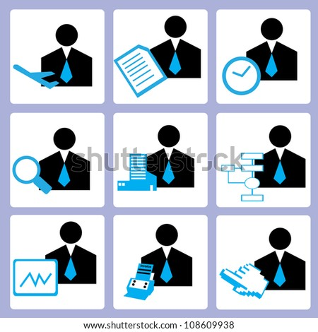 manpower and human resource, personal consultant icon set, vector
