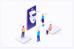 Mans and women chatting with chatbot application. AI and business IOT concept. Vector isometric illustration