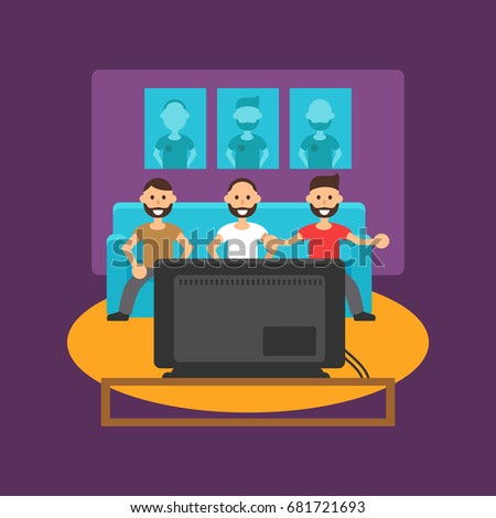 mans watches tv on sofa vector