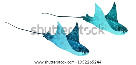 Manta ray fishes, marine animals, sea creatures vector illustration. Blue turquoise eagle ray fishes, mobula scube abstract vector. Eagle or devil fish couple, underwater stingray giant ocean animals. Foto stock ©