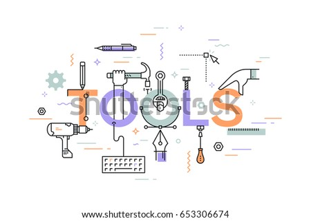Manual and automated work, hand and power tools and machines concept. Creative infographic banner with elements in thin line style. Vector illustration for advertisement, website, presentation.