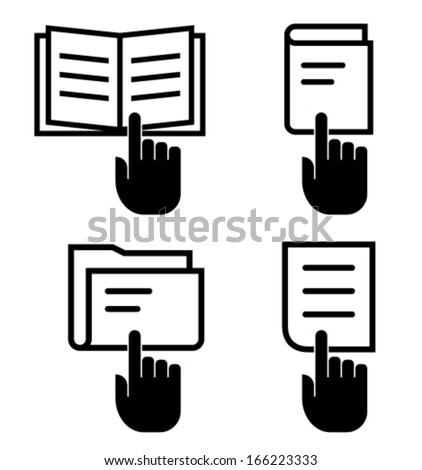 Manual, book, folder and document with hand vector icons isolated on white background