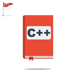 manual c++ book icon, vector handbook c++  icon, isolated book icon