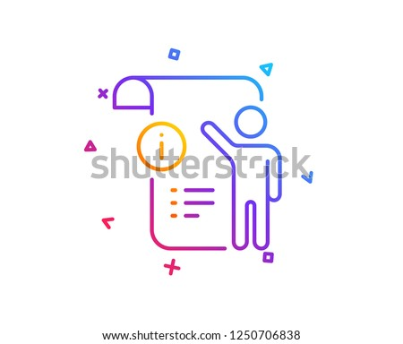 Manual doc  line icon. Technical instruction sign. Gradient line button. Manual doc icon design. Colorful geometric shapes. Vector