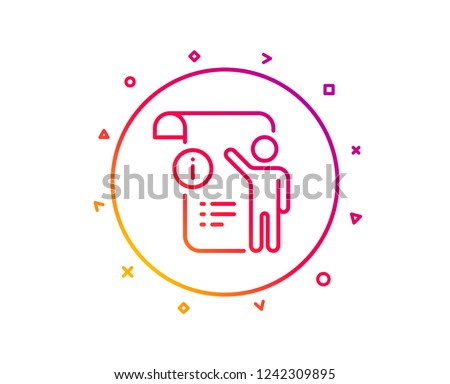 Manual doc  line icon. Technical instruction sign. Gradient pattern line button. Manual doc icon design. Geometric shapes. Vector