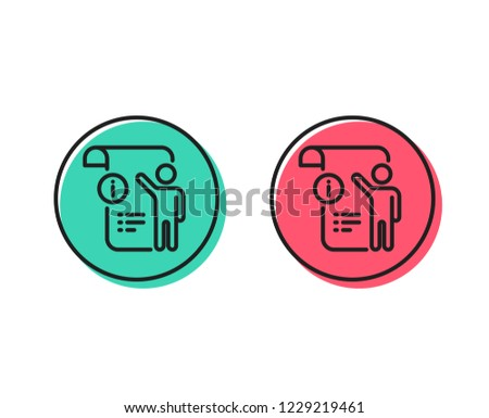 Manual doc  line icon. Technical instruction sign. Positive and negative circle buttons concept. Good or bad symbols. Manual doc Vector