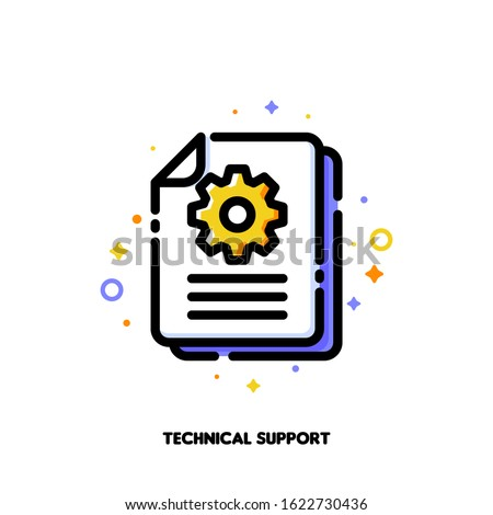 Manual document icon with paper file and gear for big data processing technology or capturing digital information concept. Flat filled outline style. Pixel perfect 64x64. Editable stroke
